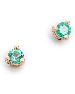 Tiny Emerald Stud Earrings