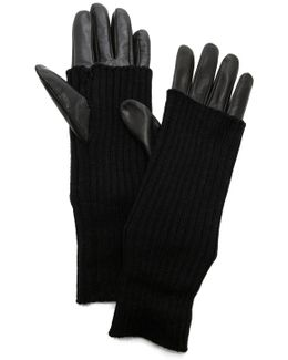 Knit & Leather Texting Gloves