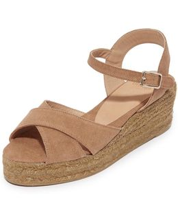Washed Canvas Crisscross Wedge Espadrilles