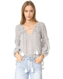 Ruffle Blouse With Drawstring Details