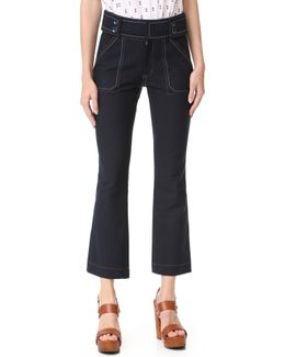 Utility Cropped Flare Trousers