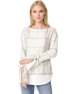 Tie Sleeve Pullover With Shirt Hem