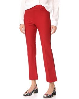 Cropped Flare Trousers With Tuxedo Piping Detail
