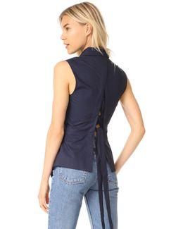Sleeveless Shirt With Lace Up Back