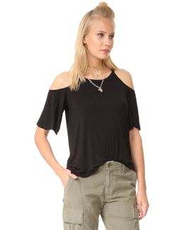 Cold Shoulder Flounce Sleeve Top