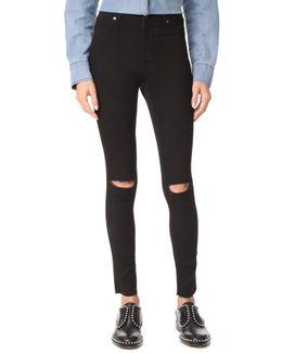 High Spray Cut Black Jeans