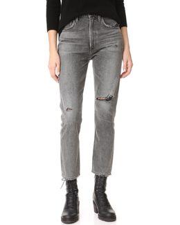 Dree Crop High Rise Slim Straight Jeans