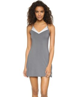 Essentials With Satin V Neck Chemise