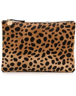 Leopard Flat Haircalf Clutch