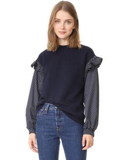 Too Polka Dot Sleeve Sweatshirt