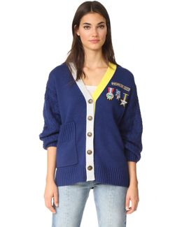 Scout Patch & Embroidered Knit Cardigan
