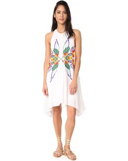 High Neck Embroidered Swing Dress