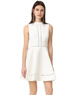 Textured Jacquard Fit And Flare Mock Neck Dress