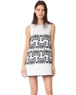 Bonded Embroidered Shift Dress