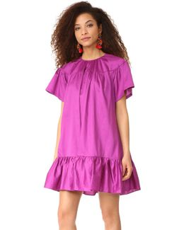 Polished Cotton Ruffle Dress