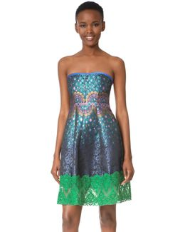 Peacock Jacquard Strapless Dress
