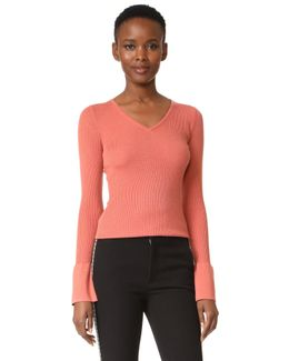Bell Sleeve Tight V Neck Sweater