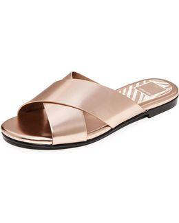 Karlo Metallic Slide Sandals