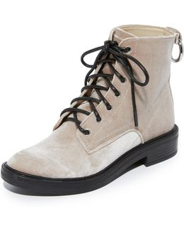 Bardot Velvet Combat Boots