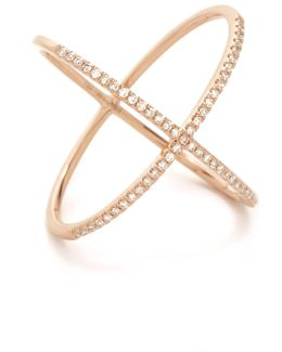 Pave Rose Gold Diamond X Ring