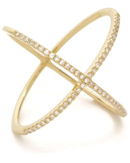 Pave Gold Diamond X Ring