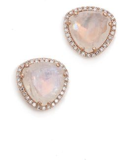Diamond Stone Slice Stud Earrings