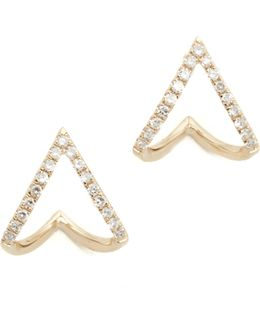 Diamond Mini Chevron Wrap Stud Earrings