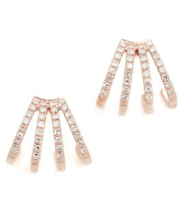 Multi Diamond Huggie Earrings