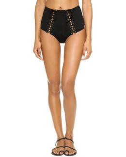 Lace Up High Waist Bikini Bottoms