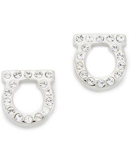Small Crystal Gancio Stud Earrings