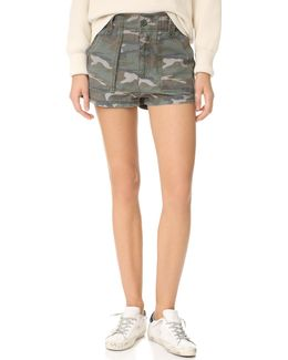 High Waisted Military Shorts
