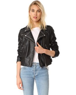Studded Vegan Moto Jacket