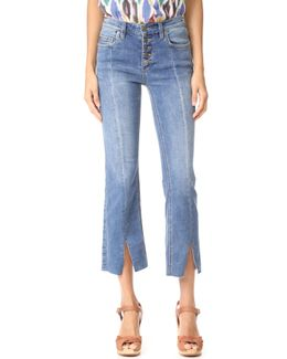 Cropped Button Front Jeans