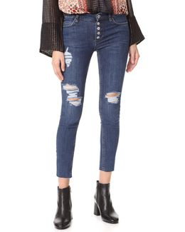 Destroyed Reagan Button Front Jean