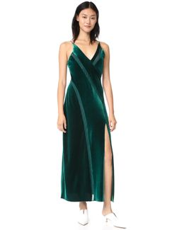 Spliced Velour Maxi Dress