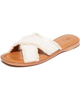 Hayley Frayed Slide Sandals