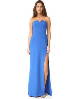 High Slit Strapless Gown