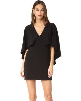 V Neck Crepe Dress With Cape