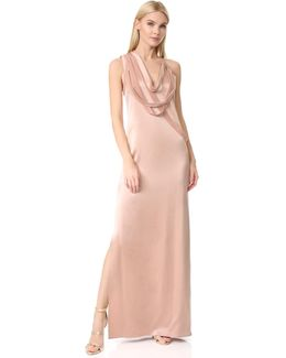 Sleeveless Slip Gown With Draped Strips