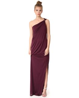 One Shoulder Draped Jersey Gown With Slit