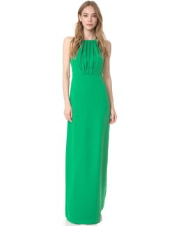 Round Neck Gown With Flounce Back