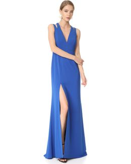 Deep V Neck Gown With Back Cutouts