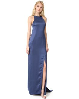 High Neck Satin Gown With Back Drape