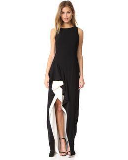 Asymmetric Flounce Gown