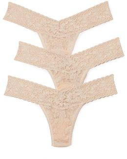 3 Pack Signature Lace Low Rise Thong