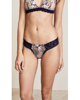 Embroidered Low Rise Diamond Thong