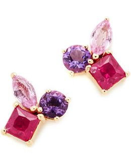 Cluster Earrings With Pink Sapphire
