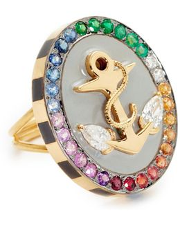 18k Gold Anchor Ring With Rainbow Stones