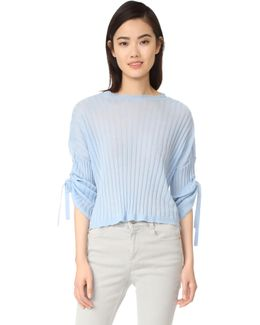 Cashmere Tie Sleeve Pullover