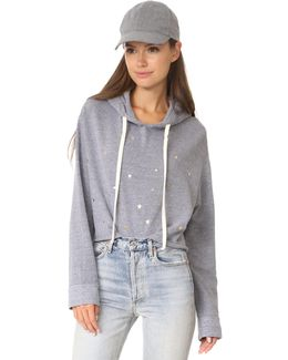 Oversized Cropped Hoody With Stardust